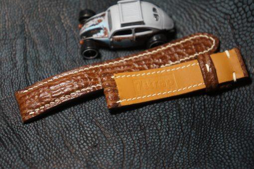 Genuine brown shark leather strap