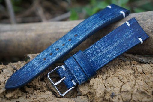 Blue Patina Leather Watch Strap