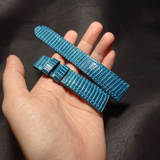 Turquoise lizard leather watch strap