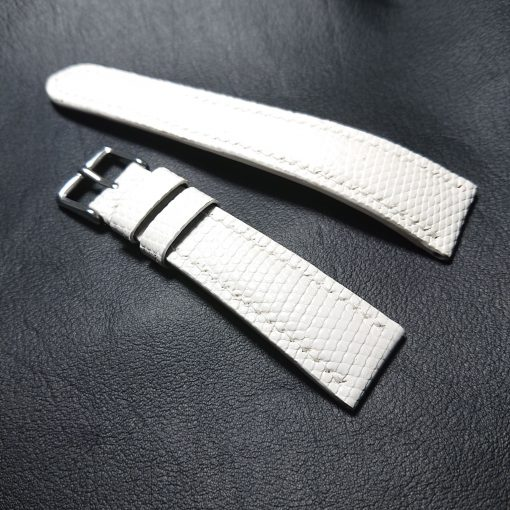 White lizard leather watch strap