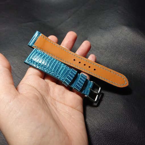 Turquoise leather lizard watch strap