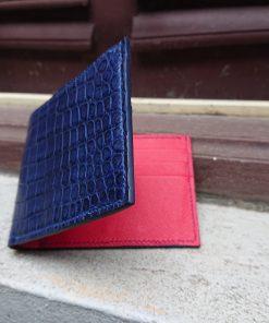 Crocodile Leather Wallet for MenMen's Navy Crocodile Wallet