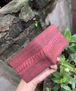 Bifold wallet - Red Ostrich leg leather bifold wallet