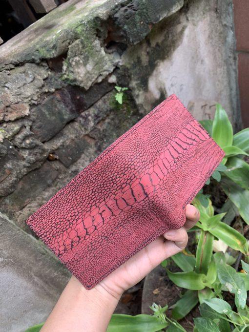 Bifold wallet - Red Ostrich leg leather bifold wallet