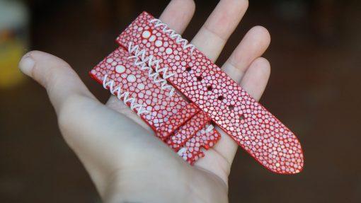Genuine Red Stingray Leather Watch Strap