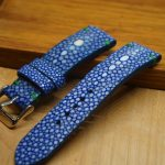 Blue stingray leather watch strap