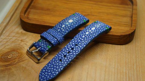 Blue stingray leather watch strap