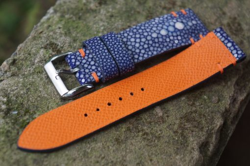 Blue Stingray Leather Strap Double Pearl