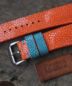 Orange Stingray Leather Watch Strap For Oris Aquis, Custom Orange Stingray Leather Watch Strap