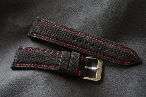 Black Nubuck Lizard Leather Watch Strap