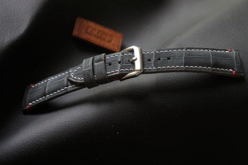 Grey Nubuck Alligator Leather Watch Strap