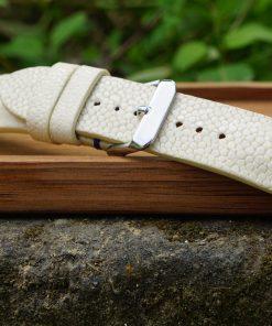 White Stingray Leather Watch Strap