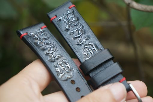 Hand-carved Leather Watch Strap