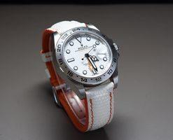 Custom White Lizard Leather Watch Strap for ROLEX EXPLORER II