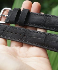 Curved-end Alligator Leather Watch Strap