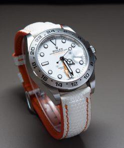 White Lizard Leather Strap For Rolex